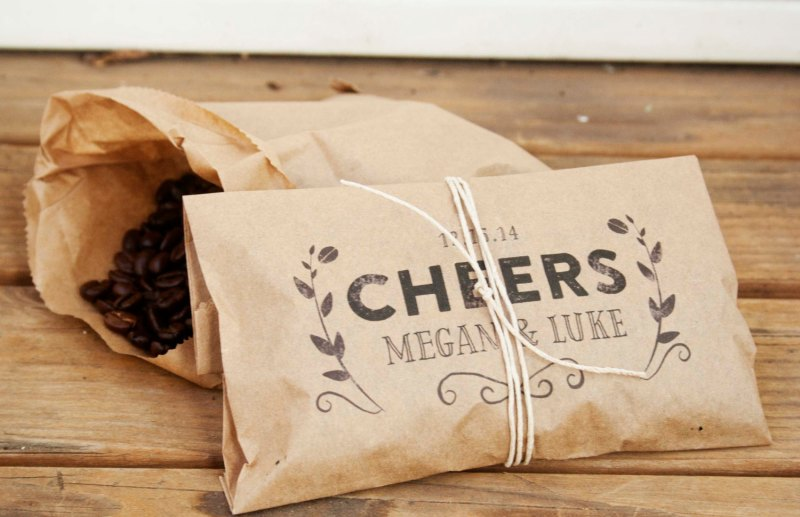 Cheers Whole Bean Coffee Favor Bags | How to Make Coffee Favors