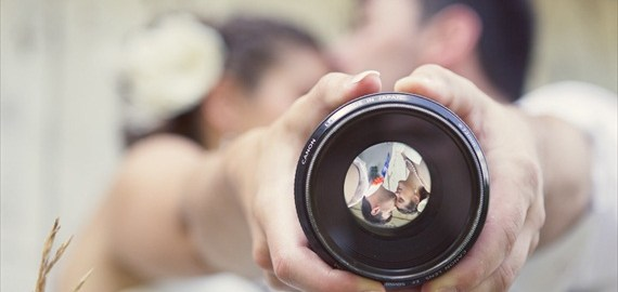 bride and groom through camera lense - Boro: Creative Visions