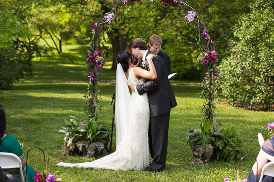 Daniel Fugaciu Photography - bride and groom kiss, outdoor ceremony, tyler arboretum wedding