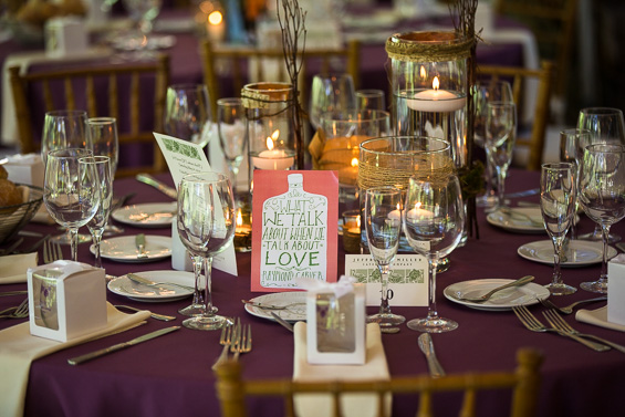 Daniel Fugaciu Photography - purple rustic chic wedding table theme