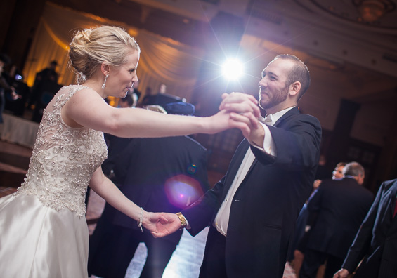 bride and groom dance at reception at Crystal Tea Room Wedding - photo: Daniel Fugaciu Photography | via http://emmalinebride.com