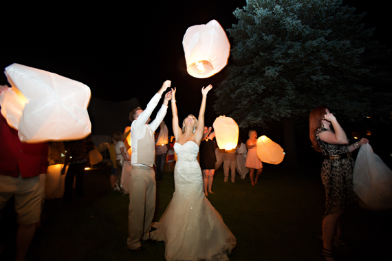 KimAnne Photography - iowa backyard wedding - bride-groom-light-lanterns