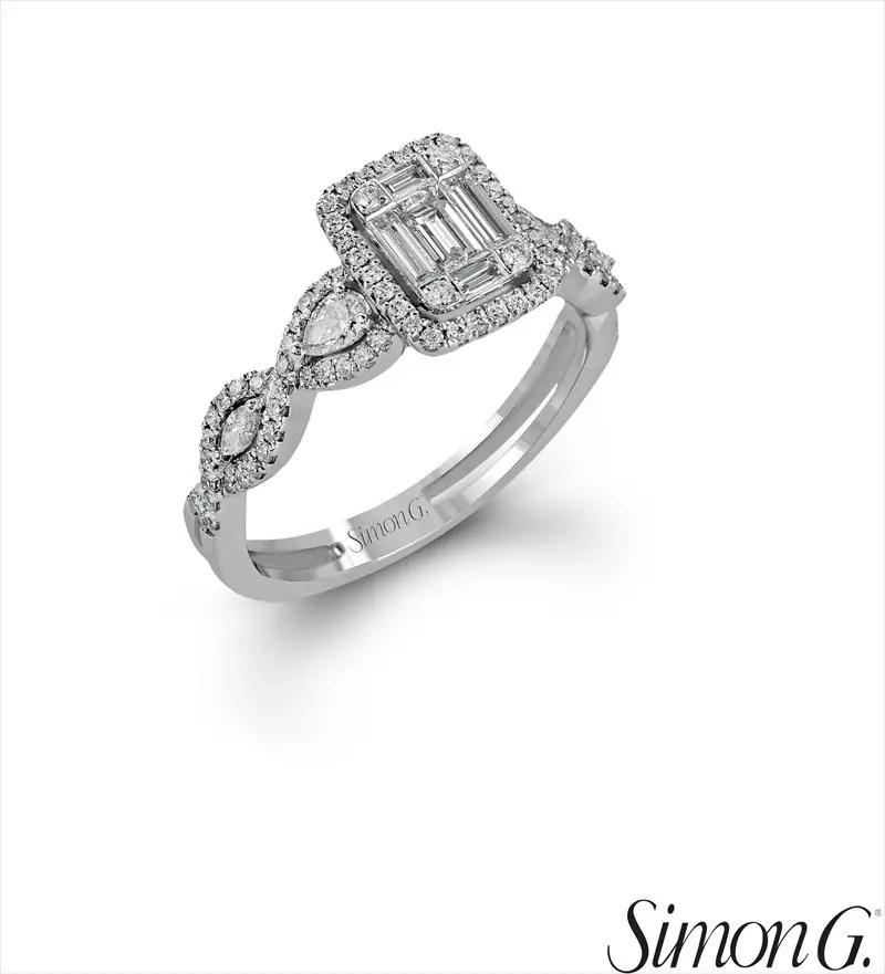 Geometric Halo Diamond Right-Hand Ring | Latest Spring Jewelry Trends | http://emmalinebride.com/jewelry/latest-spring-jewelry-trends/