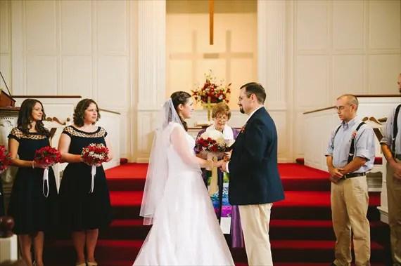 americana-wedding-bride-groom-altar (photo: michelle gardella)