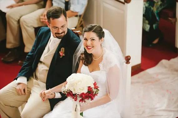 americana-wedding-bride-groom-bride-smiling-ceremony (photo: michelle gardella)