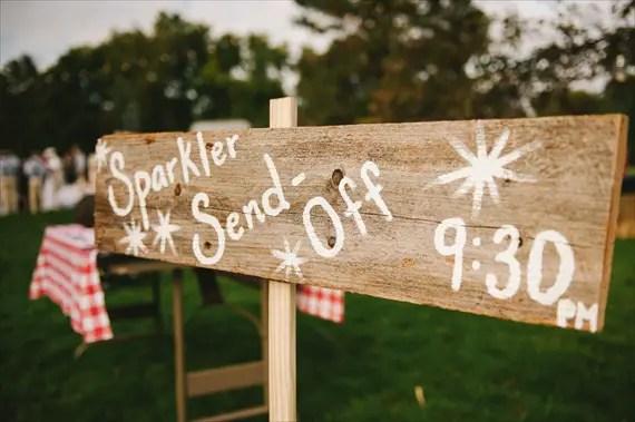 americana-wedding-sparkler-send-off-sign (photo: michelle gardella)