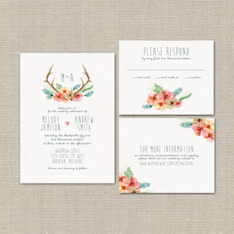 antler wedding invitations by splash of silver