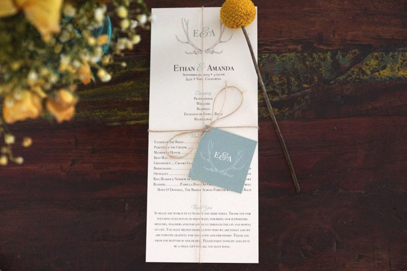 antler wedding programs by amanda day rose