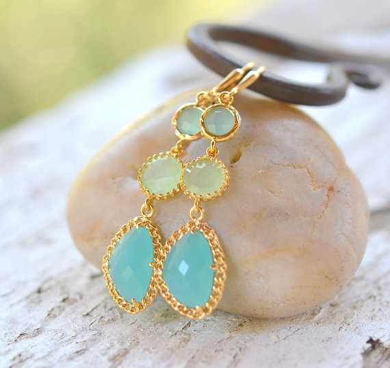 Best Bridesmaid Gifts from A-Z (via EmmalineBride.com) - aqua earrings (by rustic gem)