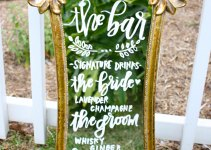 bar sign hand lettered mirror