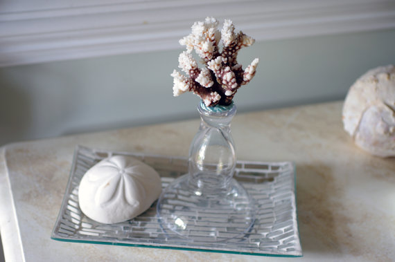 10 Beach Wedding Centerpieces via EmmalineBride.com - beach glass decor by By The Seashore