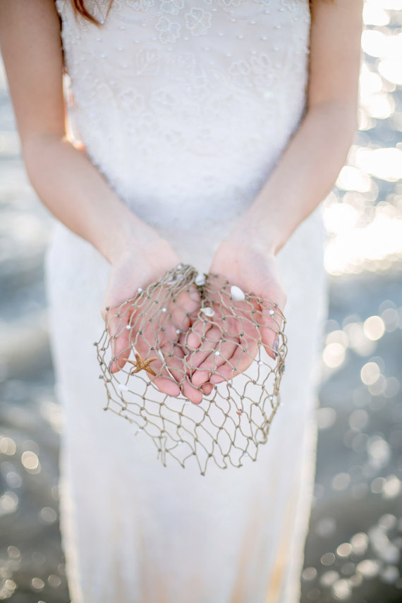 beach wedding veil netting