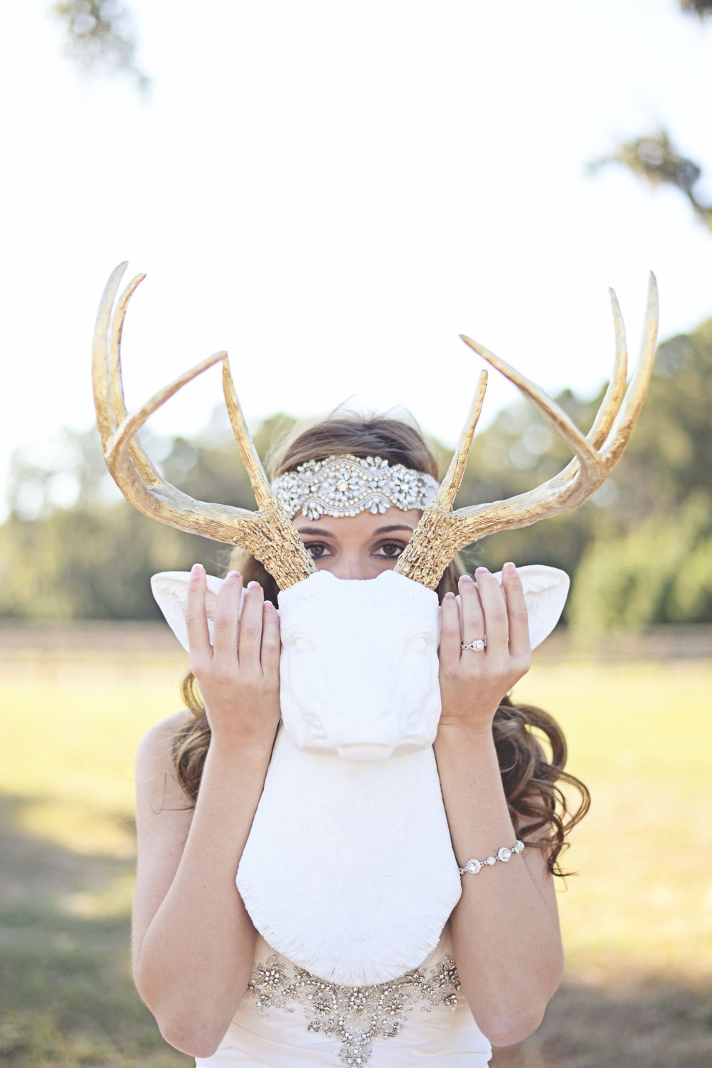 beaded halo hair piece | what to wear instead of a veil