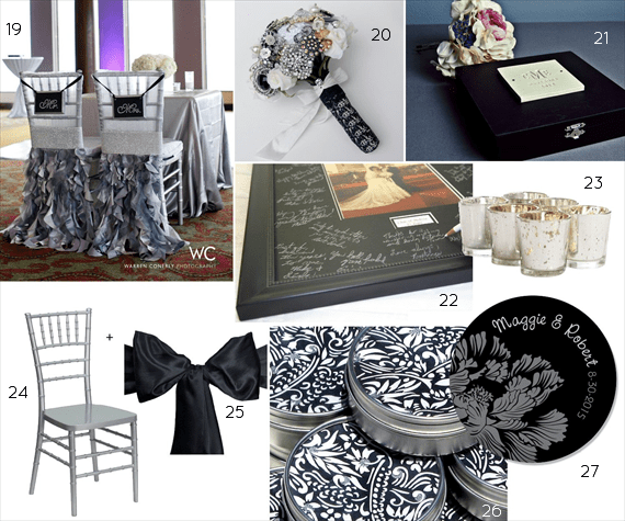 black and silver wedding decor