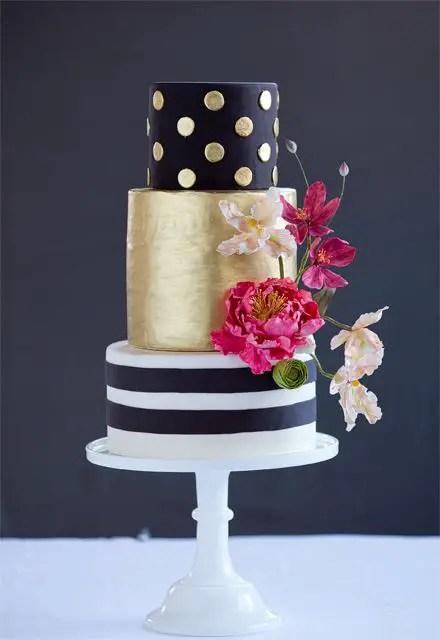 black and white striped gold metallic wedding cake
