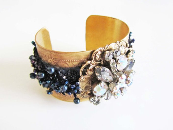 black sequin cuff bracelet
