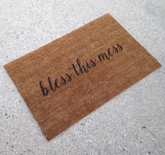 bless this mess doormat - custom doormats etsy collection from LoRustique | http://emmalinebride.com/gifts/custom-doormats-etsy/