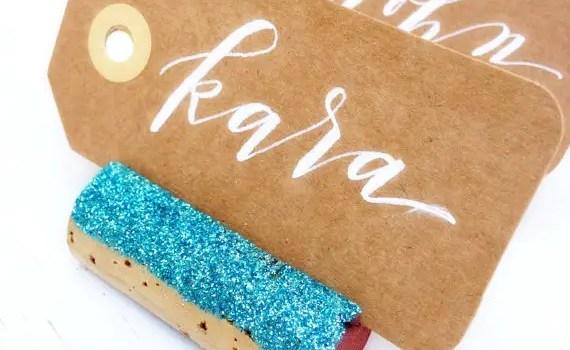 blue glitter place card holder