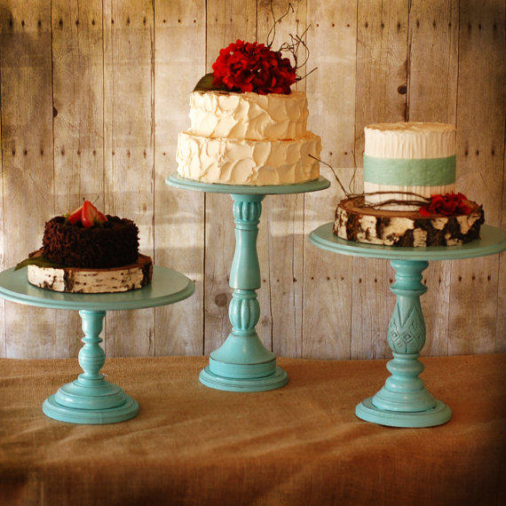 Handmade Wedding Cake Stands (by Roxy Heart Vintage via EmmalineBride.com) #handmade #wedding