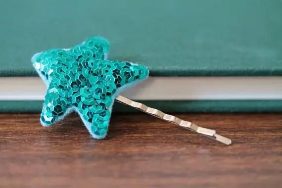 blue sparkly hair clip