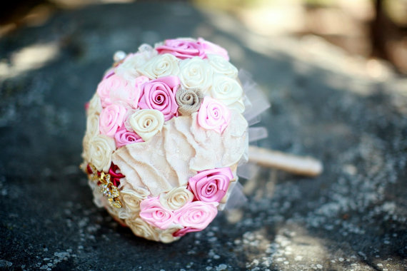 21 Unique Ceremony Ideas for Your Wedding (via Emmaline Bride) - handmade fabric flower bouquet by All for Love, L.O.V.E.