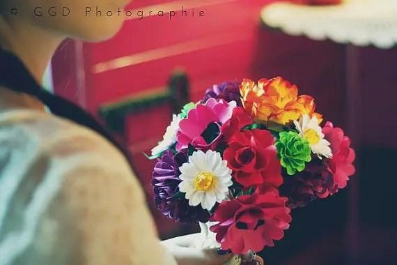 boho style | wedding bouquets made of paper via emmalinebride.com