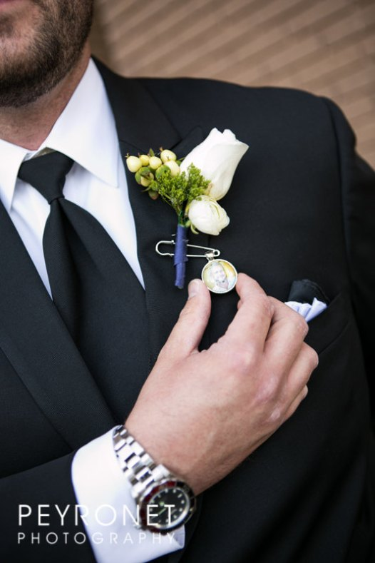boutonniere charm with photo and handwriting