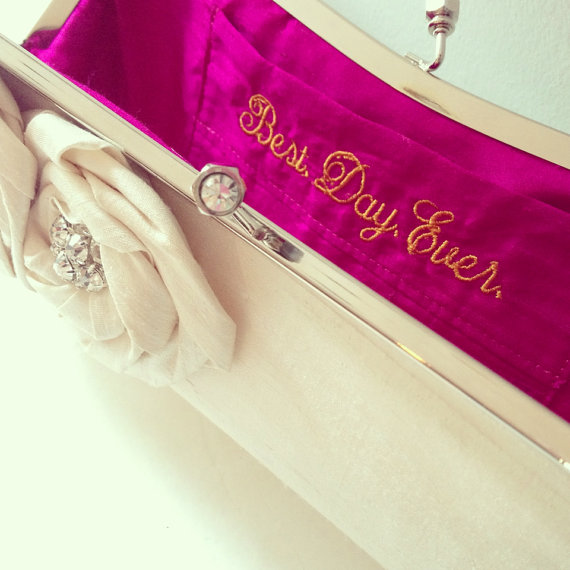 What's Hot in The Marketplace - bridal clutch with 'best day ever' embroidered on lining by sara c accessories