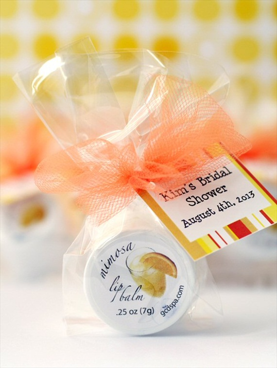 50 Best Bridal Shower Favors: bridal shower lip balm favors (by gcd spa)