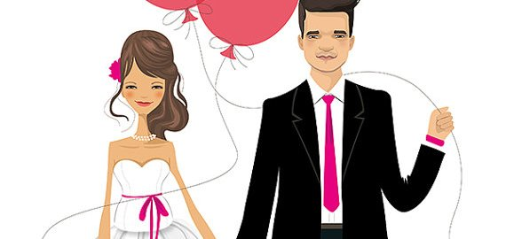 bride and groom illustration