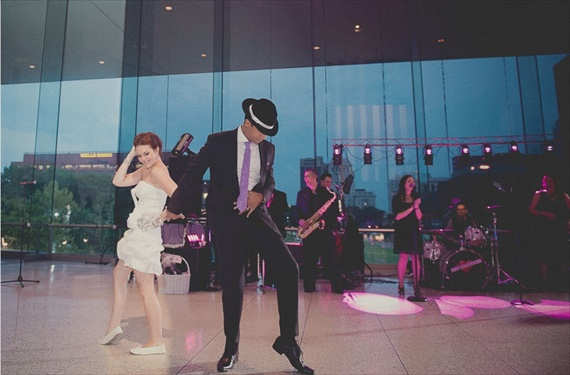 Bust a Move Philadelphia wedding, bride and groom dance at the national constitution center
