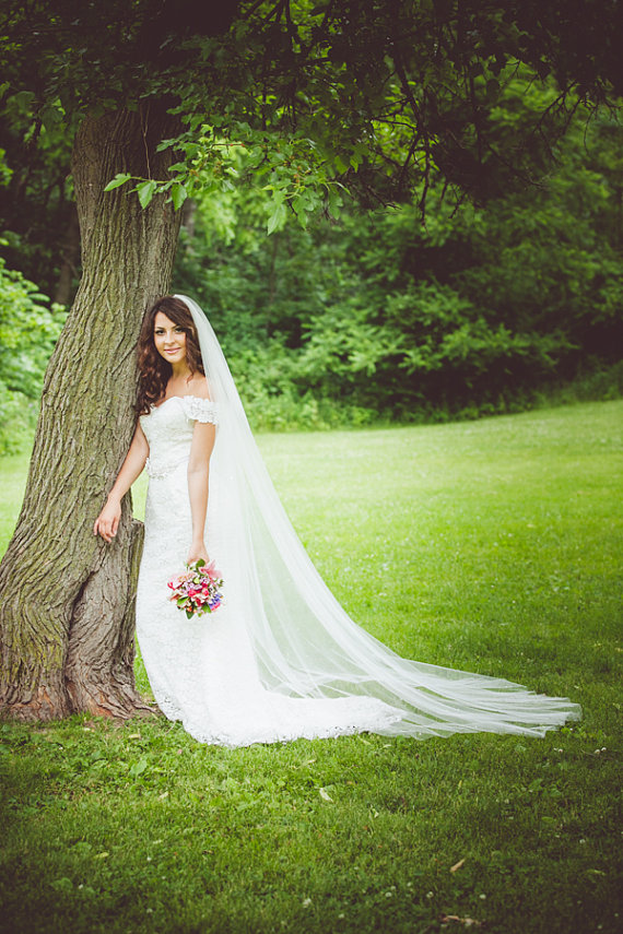 bride wearing long length wedding veil