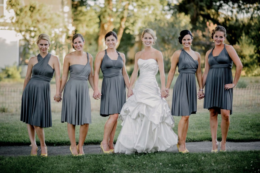 bridesmaid dress worn different ways | via http://emmalinebride.com/bridesmaids/bridesmaid-dress-worn-different-ways/