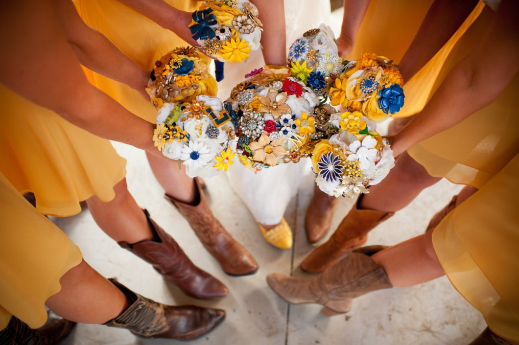 brooch bouquet with yellow details