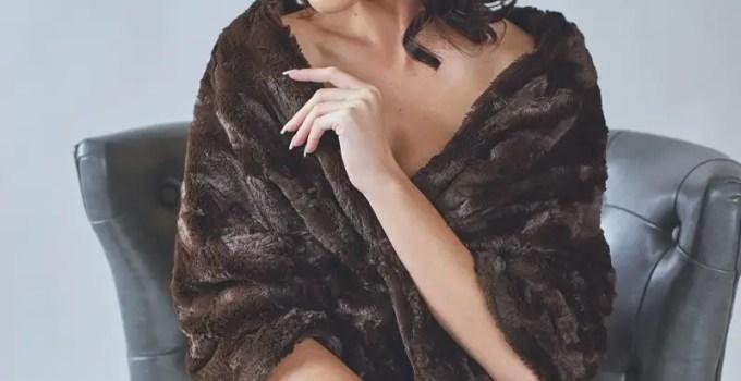 brown faux fur bridal stole