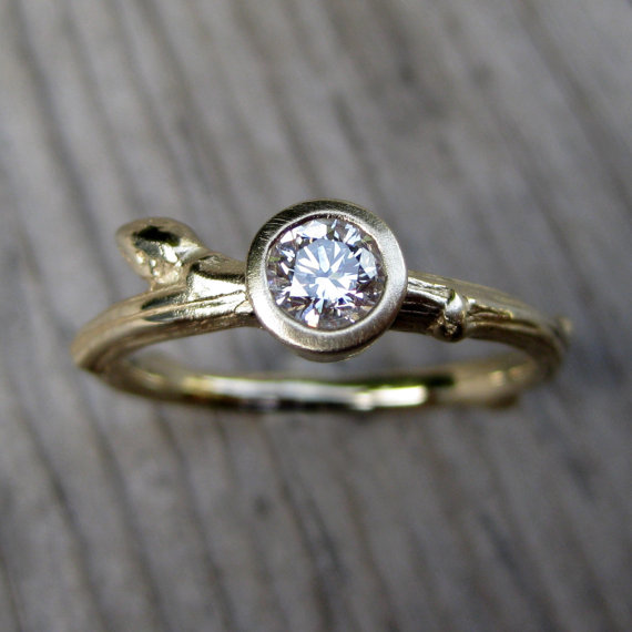 budding twig diamond engagement ring with twig style band