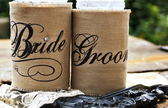 burlap beer koozies - How to Plan a Western Themed Wedding