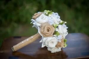 burlap bouquet side view