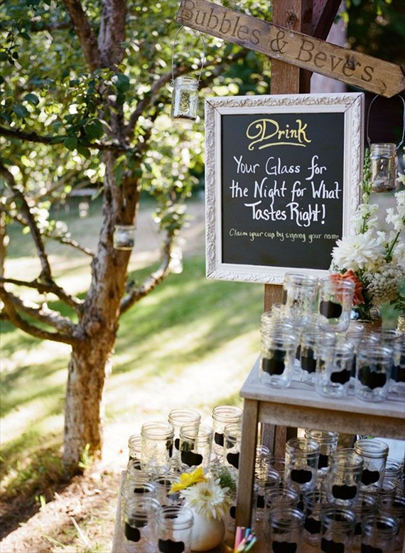 Wedding Drink Station Ideas - chalkboard mason jar drinking glasses