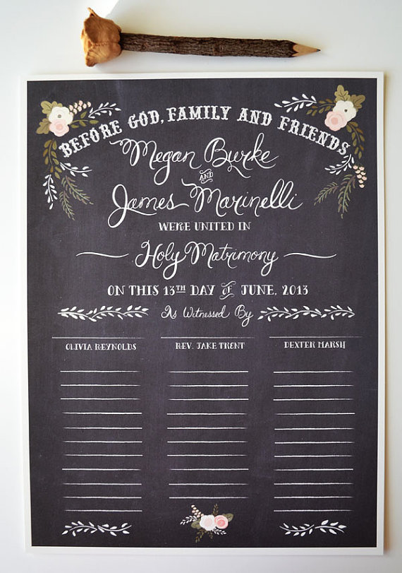 14 Chalkboard Wedding Ideas - chalkboard wedding certificate (by the first snow)