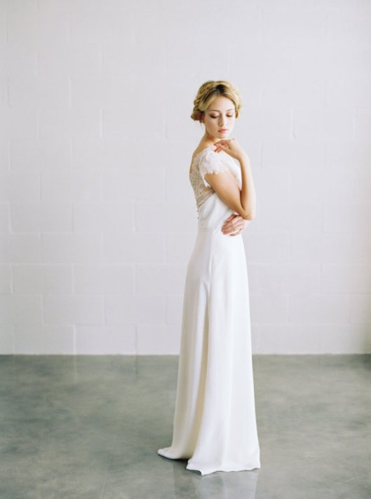 chantilly lace wedding gown with low back by saint isabel