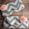 chevron wedding clutch with pink flower