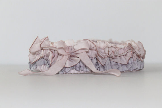 silk garter in blush orchid and lilac via 5 Shabby Chic Wedding Garters at EmmalineBride.com
