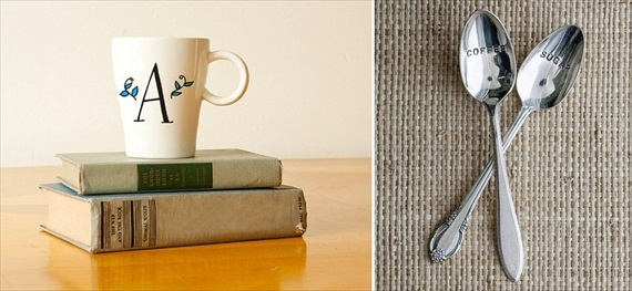 Bridesmaid Gift Giving Rules: coffee mug by Ready Maker Design, coffee and sugar spoon set by Wooden Hive