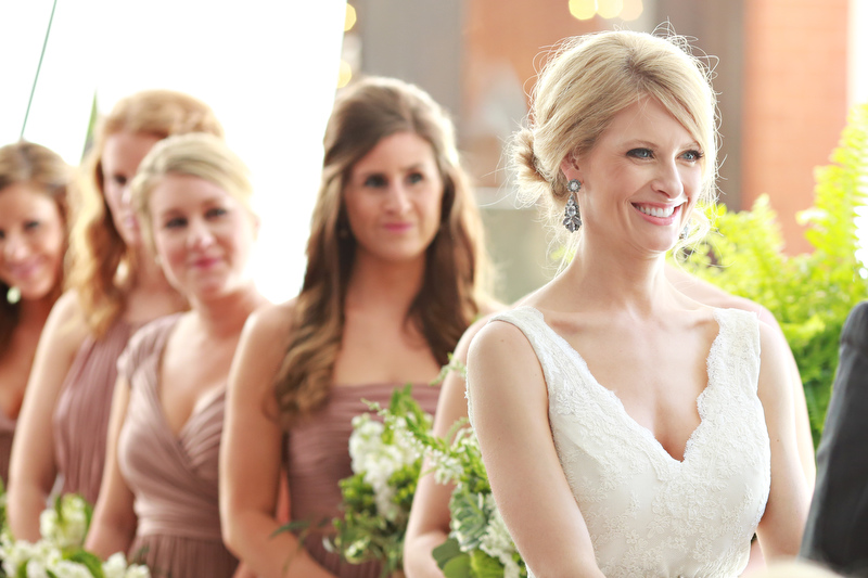 The bride and her bridesmaids at the ceremony | Photographer: Melissa Prosser Photography | via http://emmalinebride.com/real-weddings/colleen-ryans-lovely-savannah-wedding-at-the-mansion-on-forsyth-park