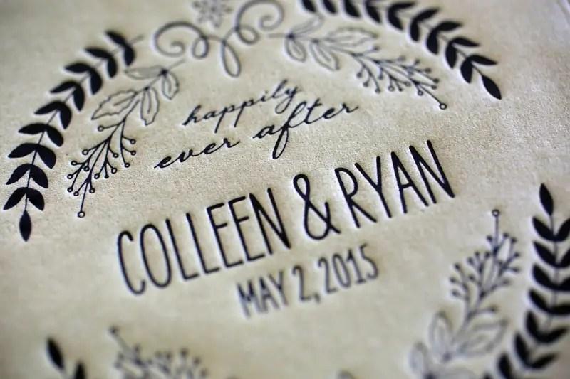Cute custom-pressed napkins | Photographer: Melissa Prosser Photography | via http://emmalinebride.com/real-weddings/colleen-ryans-lovely-savannah-wedding-at-the-mansion-on-forsyth-park