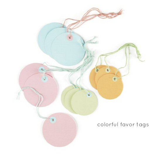 colorful favor tags spring