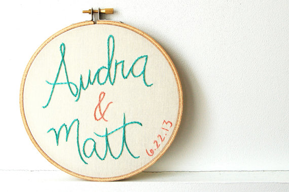 embroidered wedding ideas - couple wedding embroidery (by the merriweather council)