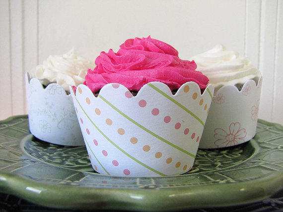Wedding Cupcake Ideas: cupcake wrappers (by Lasso'd Moon)