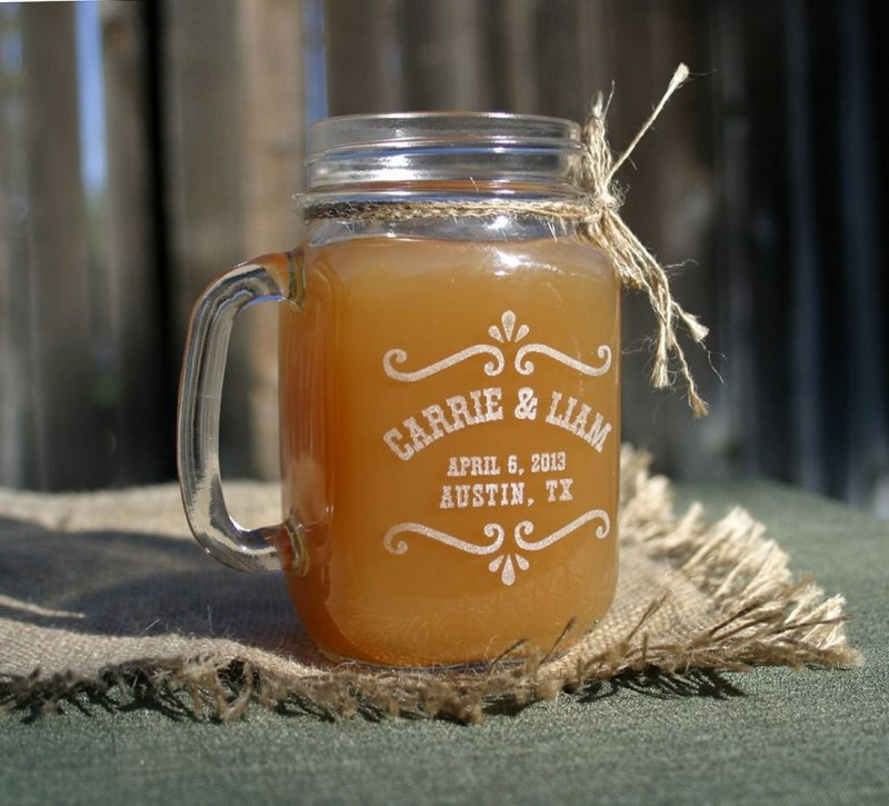 custom mason jar mugs favors via personalized glassware gifts | http://emmalinebride.com/bridesmaids/personalized-glassware-gifts/
